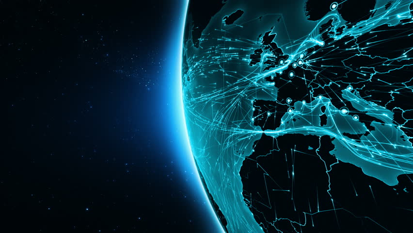 Earth connections. Africa. Aerial, maritime, ground routes and country borders. Animation of the Earth with bright connections. 3 shots in 1 file. Dolly and locked. Cyan. - 4K stock footage clip