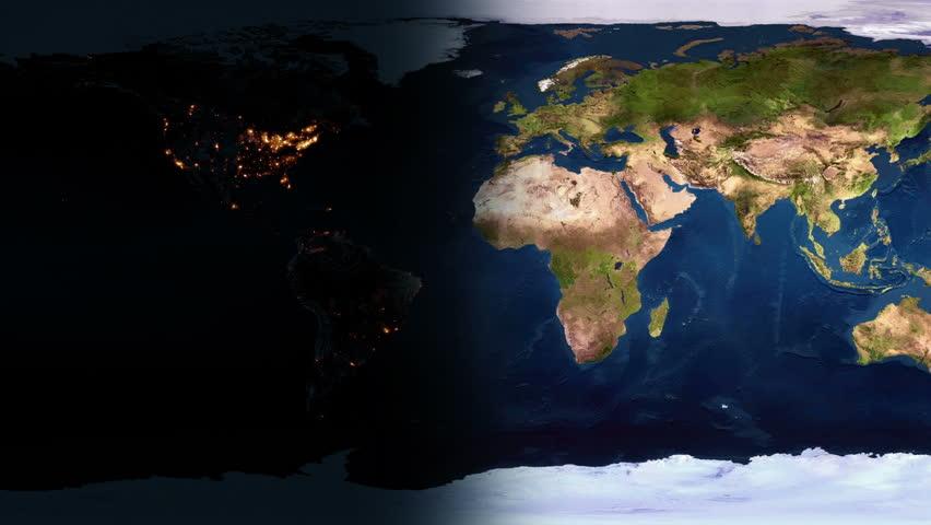 Night falls on an a flat planar planet Earth.