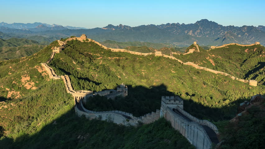 Sunrise of Great Wall of China (Panning Shot, 4k Time-Lapse Video). Aerial view of Jinshanling Great Wall near Beijing, China.- >>> Please search similar: