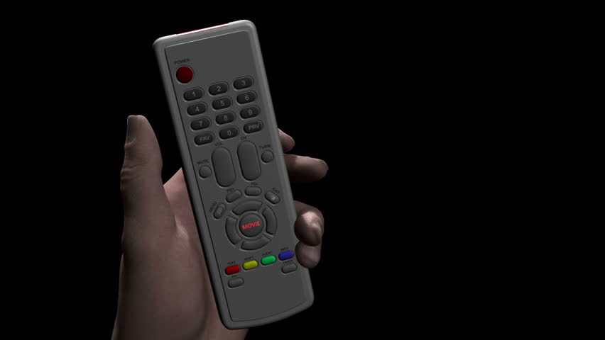 Male hand holds remote control and presses a button marked MOVIE