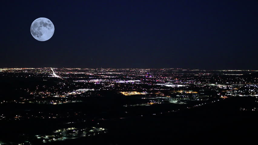 Moon over Denver at night with simulated blackout / power outage | Shutterstock HD Video #13875344