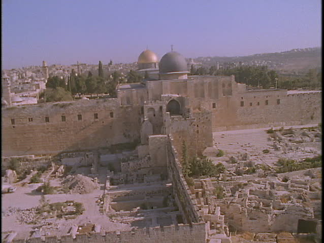 The Temple Mount towers over Jerusalem in this spectacular aerial shot.