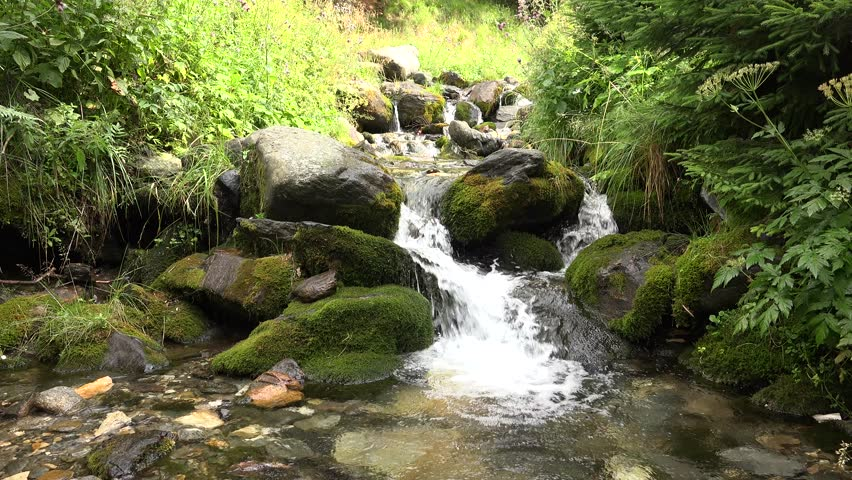 4K River Stream Mountain Brook Creek Water Fall Crystalline Source Forest View