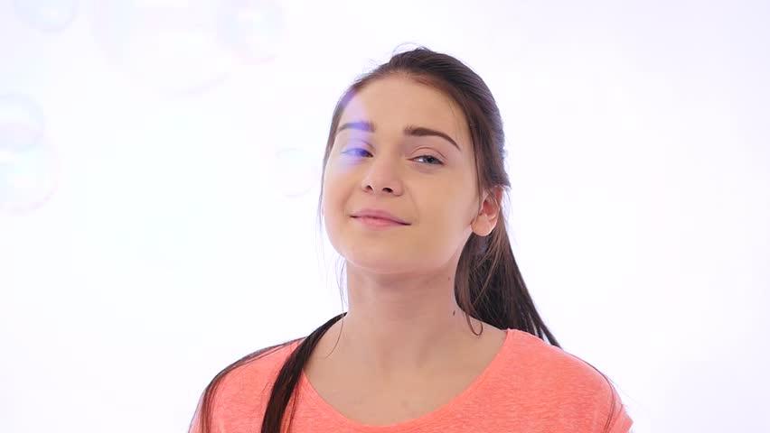 Girl Wind her Hair in Studio - HD stock video clip