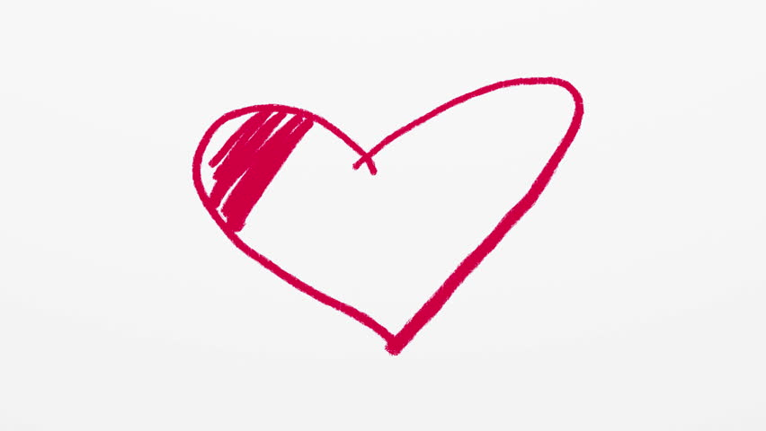 Heart symbol being drawn by red crayon or pastel on white background. Valentines day artistic animated background. | Shutterstock HD Video #13921388