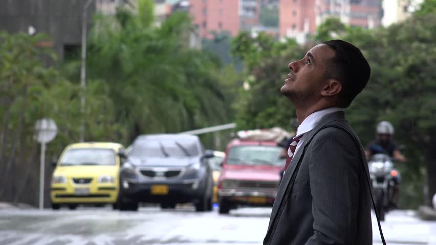Happy Man in Rainy Weather | Shutterstock HD Video #13932314