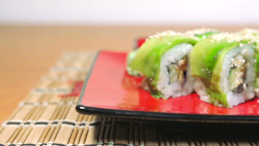 Take the Green Sushi with Chopsticks Dolly Shot