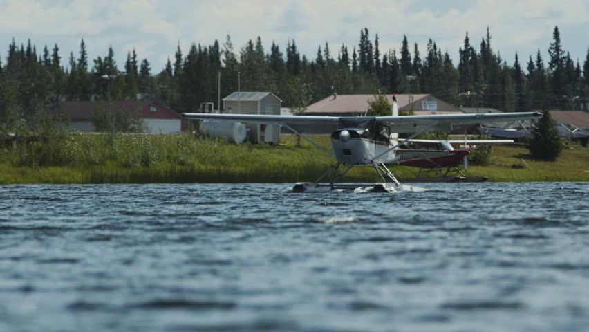 Fairbanks, Alaska, USA - JULY 2015.  Float Plane Before Taking Off In Fairbanks International Airport. Canon C300. - HD stock video clip