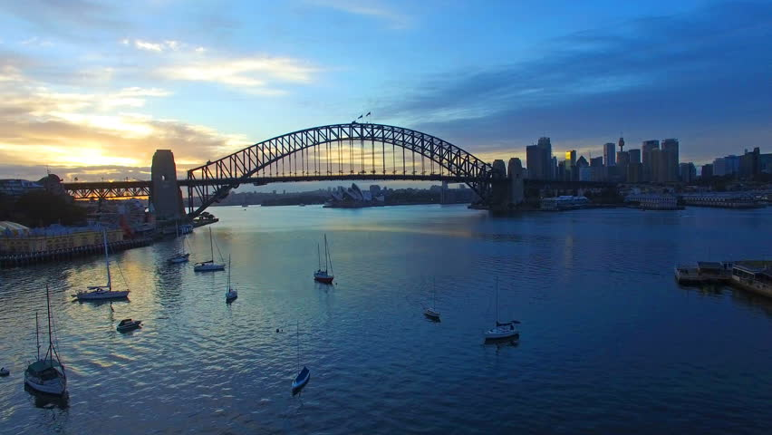 4k aerial footage at Sydney Harbour Bridge during sunrise #14007284