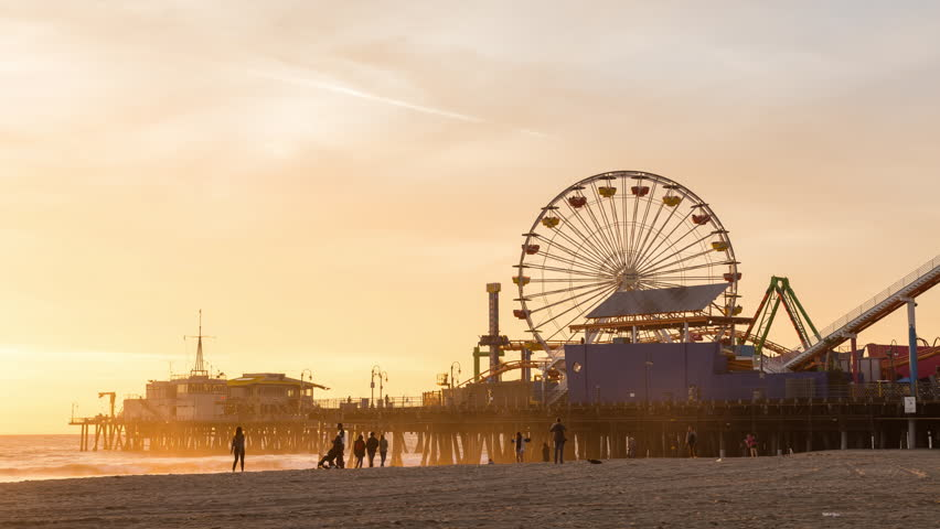 Santa Monica Sunset Timelapse, Santa Monica Pier and Ferris Wheel - 4K stock footage clip