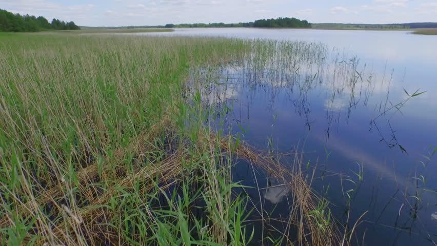 summer day famous european lake shore aerial panorama belarus - 4K stock footage clip