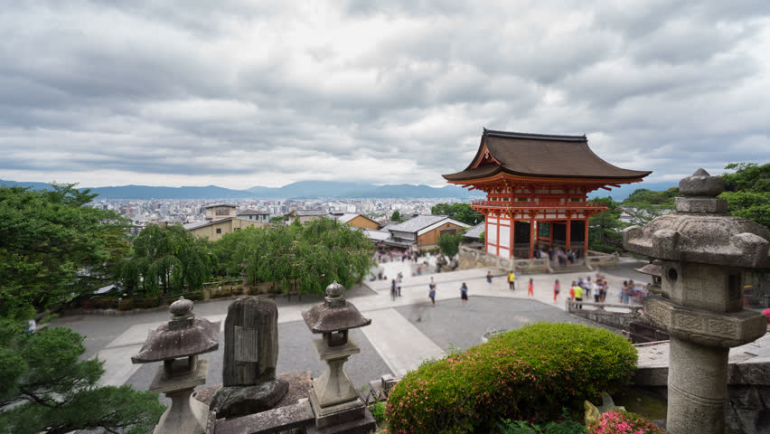 Time Lapse of Kiyomizu Dera, blurred tourists in Kyoto, Japan
