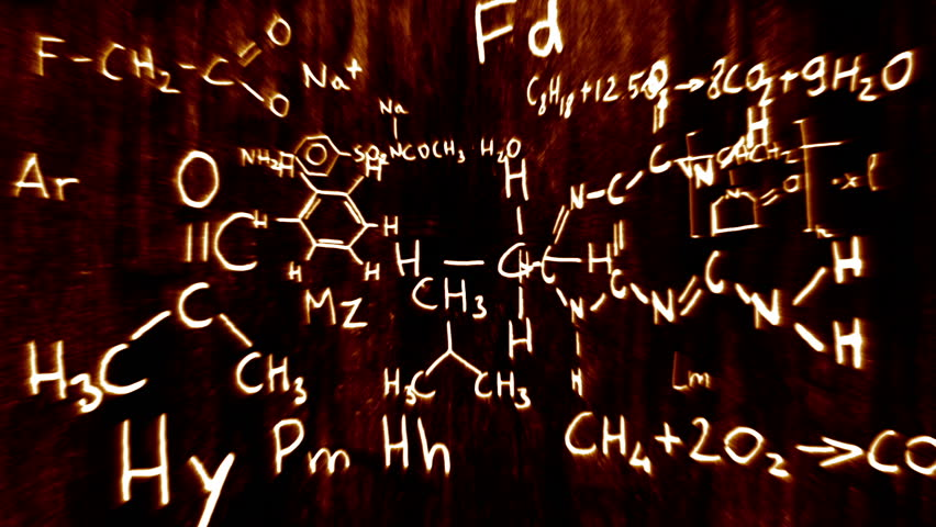 Chemistry formulas and symbols floating in 3D space with a cool design. - HD stock video clip