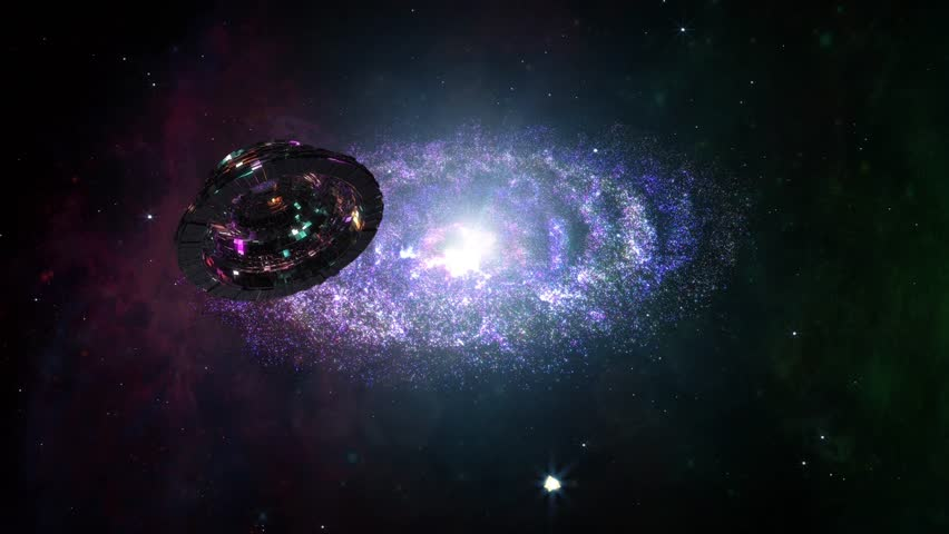 4K Alien Space Station and Spiral Nebula Clouds in Galaxy 3D Animation 4K 3840x2160 ultra high definition Nebula Clouds are fully computer generated not Nasa or other source images   Shutterstock HD Video #14096006