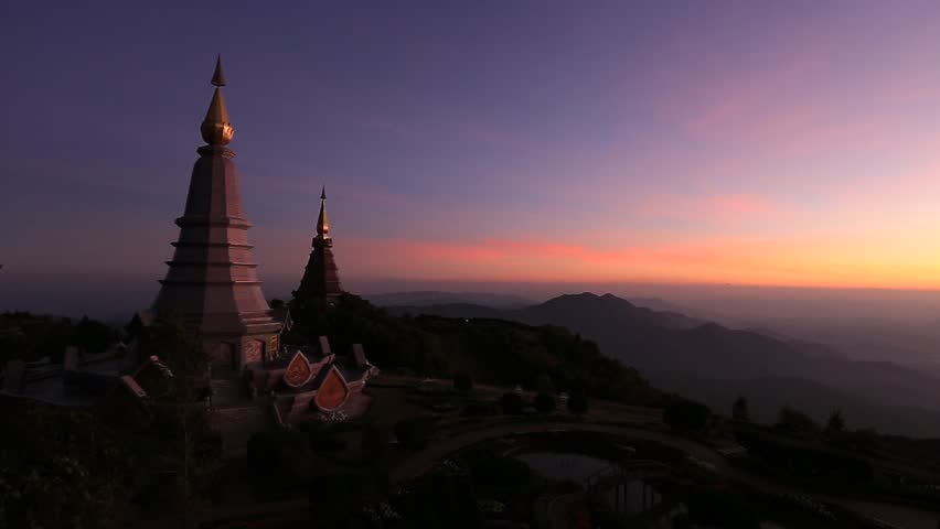 Landscape of two big pagoda on the top of Doi Inthanon mountain, Chiang mai Thailand - HD stock footage clip