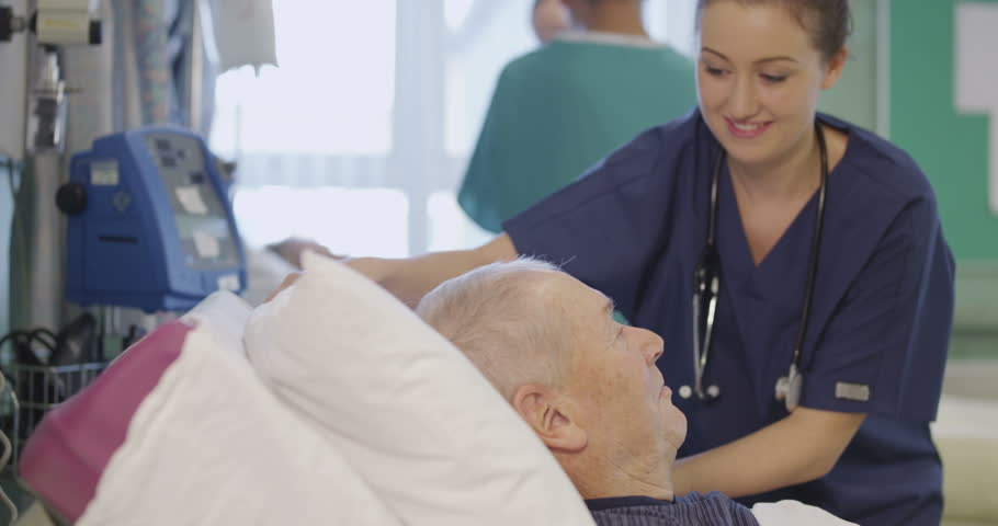 4k / Ultra HD version A beautiful female nurse attends to an elderly male patient, plumping up his pillows and chatting with him. Shot on RED Epic | Shutterstock HD Video #14129882