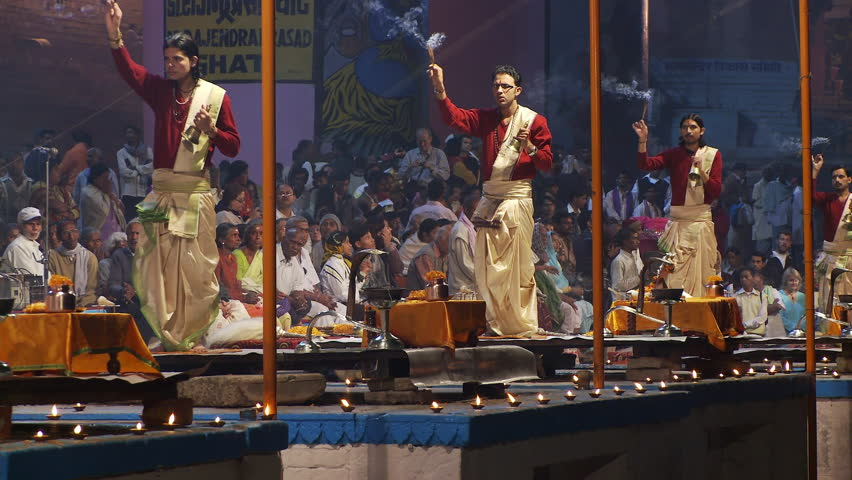 Varanasi, India - CIRCA 2013 - Close up view of Brahmin Priests with bell and incense
