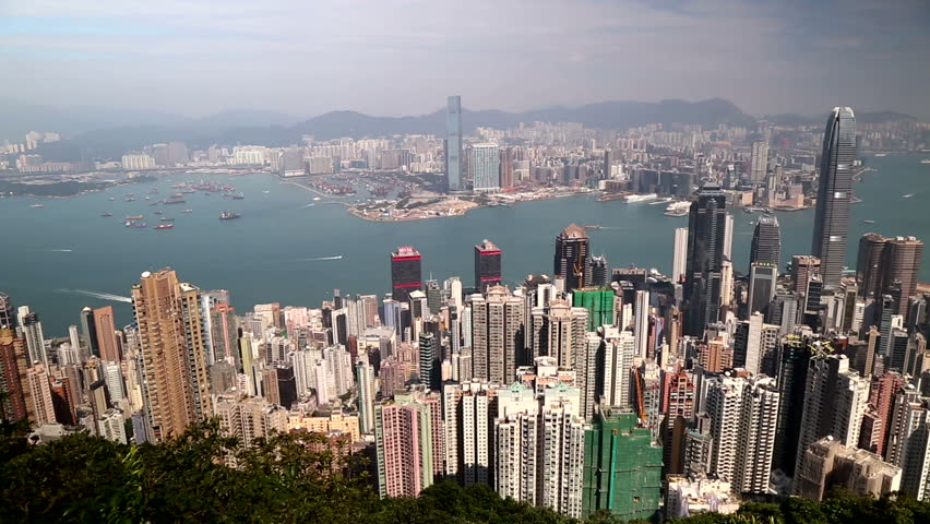 Hong Kong, China city skyline from the Peak. | Shutterstock HD Video #14227109