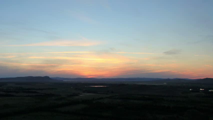 Sunrise over the mountain ridge Sunduki. Republic of Khakassia, Russia, Full HD  - HD stock footage clip