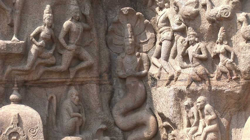 Tilt shot down Carved monoliths at the Five Rathas complex in Mahabalipuram India