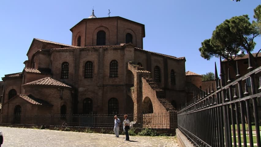 RAVENNA, ITALY  MAY 12, 2013: Exterior of the basilica of San Vitale in Ravenna, Italy. - HD stock video clip