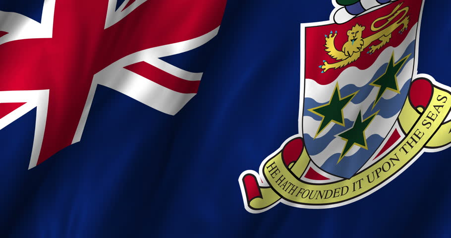 4K A beautiful satin finish looping flag animation of Cayman Islands. Fully digital rendering using the official flag design in a waving, full frame composition. The animation loops at 10 seconds.