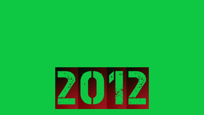 2012 new year with fire (greenscreen) - HD stock footage clip