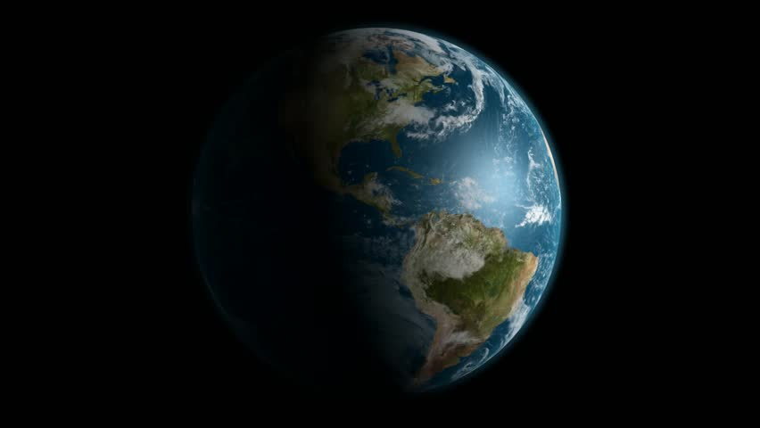 The Earth in a full 360 degree rotation over black. - HD stock footage clip