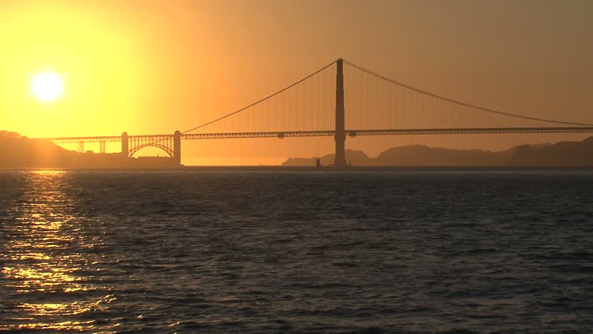Golden Gate Bridge sunset - HD stock video clip