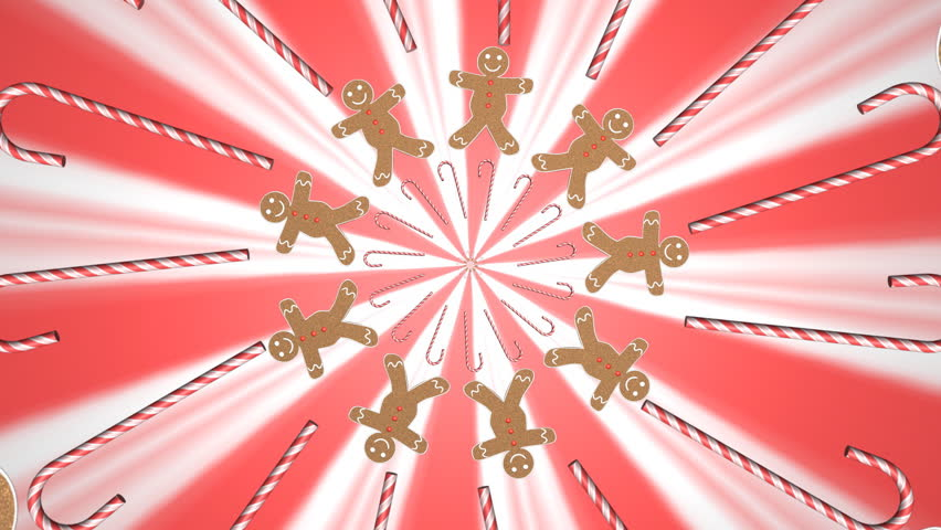 Motion graphics of gingerbread man and candy canes