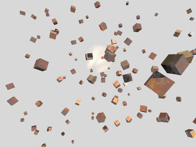 Explosion of cubes and then return to an initial condition   Shutterstock HD Video #154304