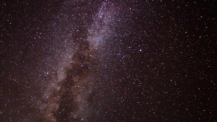 Milky Way Time Lapse Stars Moving Across the Night Sky