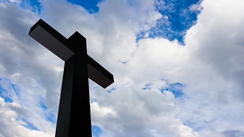 Cross with time lapse clouds. HD Version - HD stock footage clip