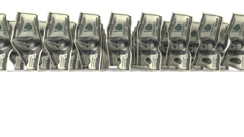 Troop of 100 dollar bills walking on white background with alpha channel. Three dimensional animation. - HD stock video clip
