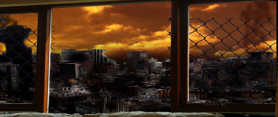 looking through the window at aftermath of terrorist attack, destruction, explosion, fire everywhere - HD stock video clip