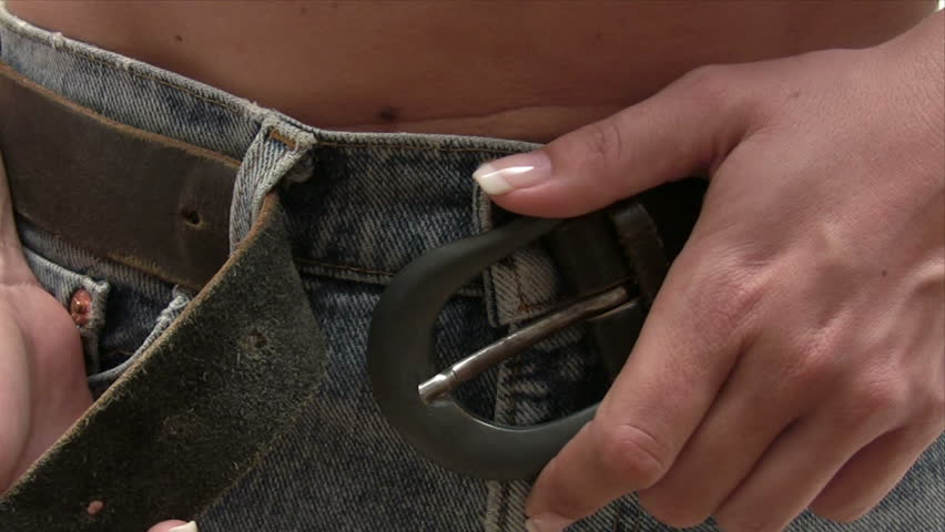 Tightening Her Belt - HD stock video clip