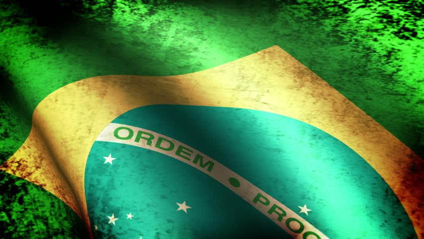 Brazilian Flag Waving, grunge look
