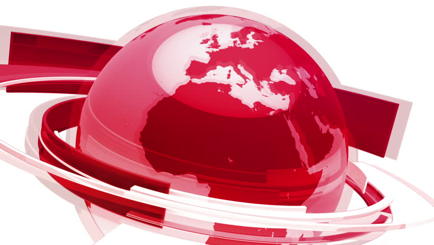 Earth Globe Animation 3D Red Glass World