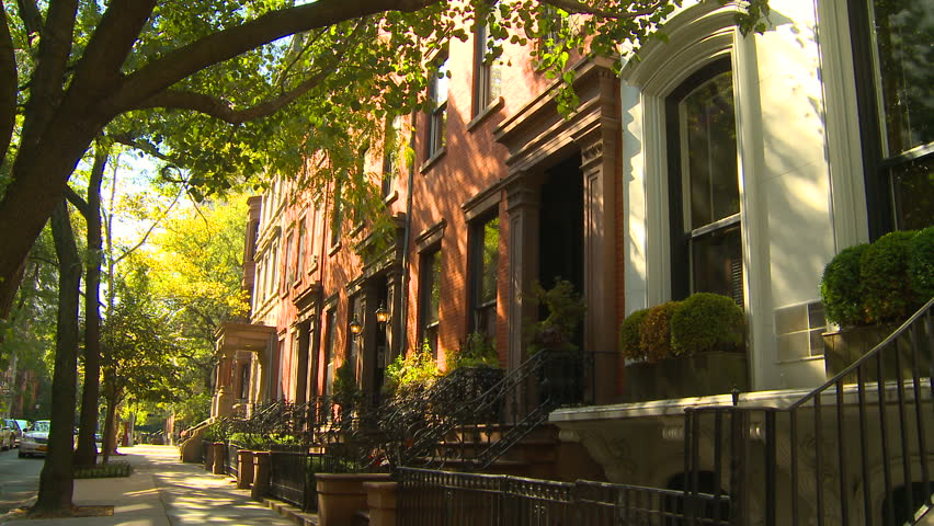 NEW YORK, NY - CIRCA 2010: Townhouses along a street in Brooklyn Heights