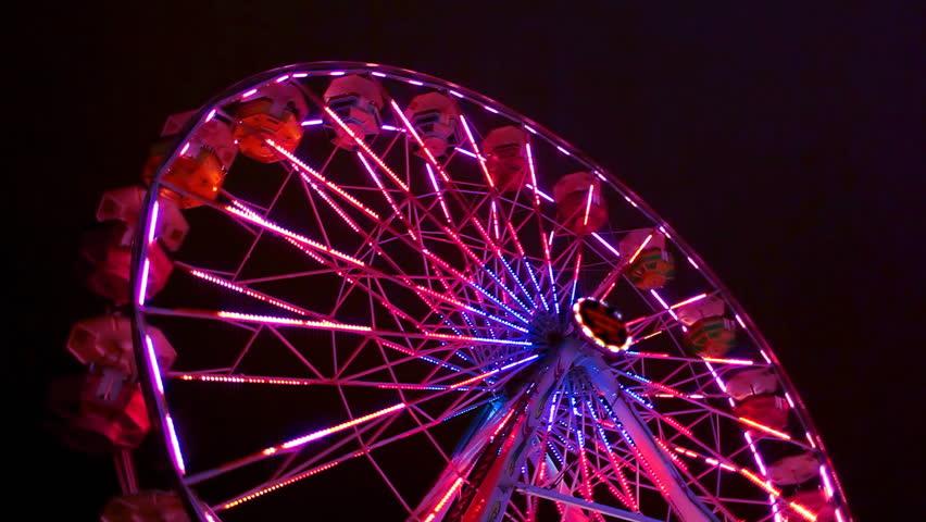 Ferris Wheel Carnival Ride at Night - HD stock video clip