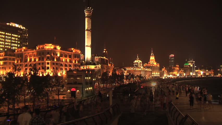 Time-lapse skyline view of Shanghai. - HD stock video clip