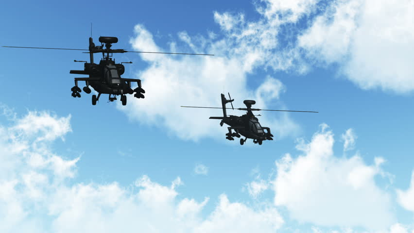 Apache AH-64D attacking helicopters in action Realistic 3D render | Shutterstock HD Video #1772198