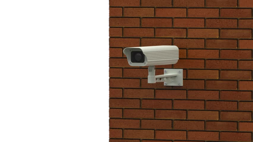 Rotating Surveillance Camera On Brick Wall Stock Footage ...