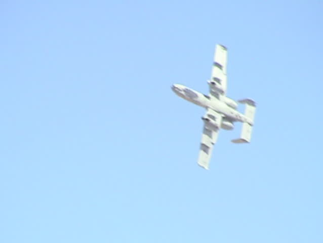 "Flyby of an A-10 ""Thunderbolt"" doing a 4-point roll. Reno AirShow, Nevada."