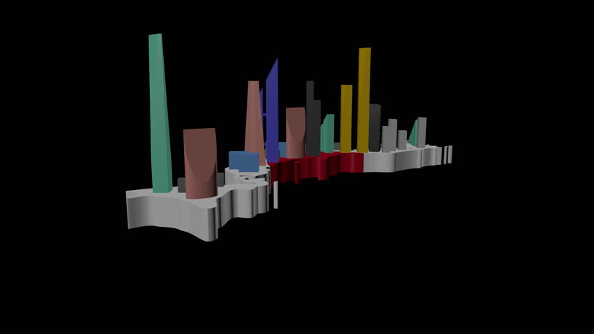 abstract skyscrapers on Japan map flag animation - HD stock footage clip