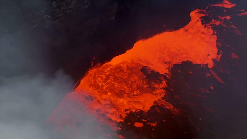 Aerial close up of lava inside caldera, Kilauea Volcano, Big Island, Hawaii