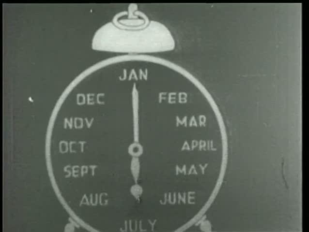 Close-up of cartoon alarm clock labeled January through December
