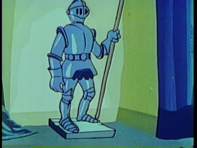 Cartoon of a knight in shining armor - SD stock video clip