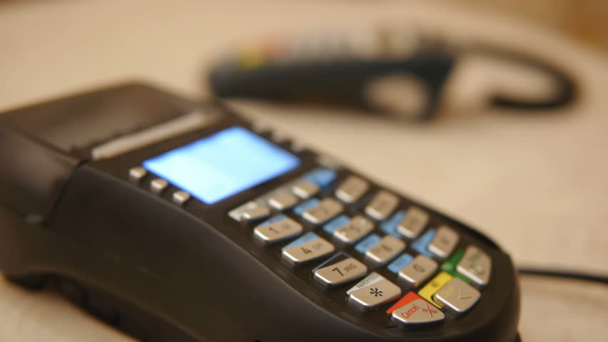 HD - Credit Card Terminal - HD stock footage clip