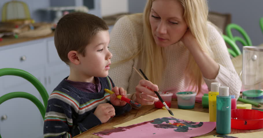 Mother And Son Sitting At Home Painting Picture   Shutterstock HD Video #18733265